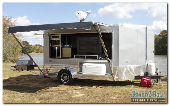 6x12 Grey Tailgating Trailer With Popout Bed