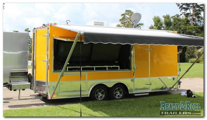 Yellow Tailgating Trailer - Dual Axles and TV Mounts